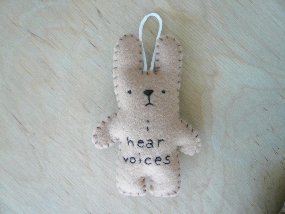 Felt animal rabbit funny bunny - I hear voices