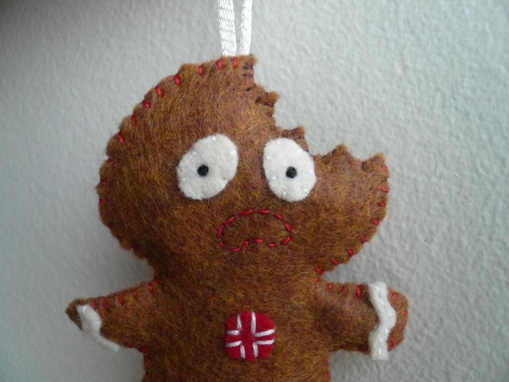 Terrified Gingerbread Man Funny Christmas Ornament