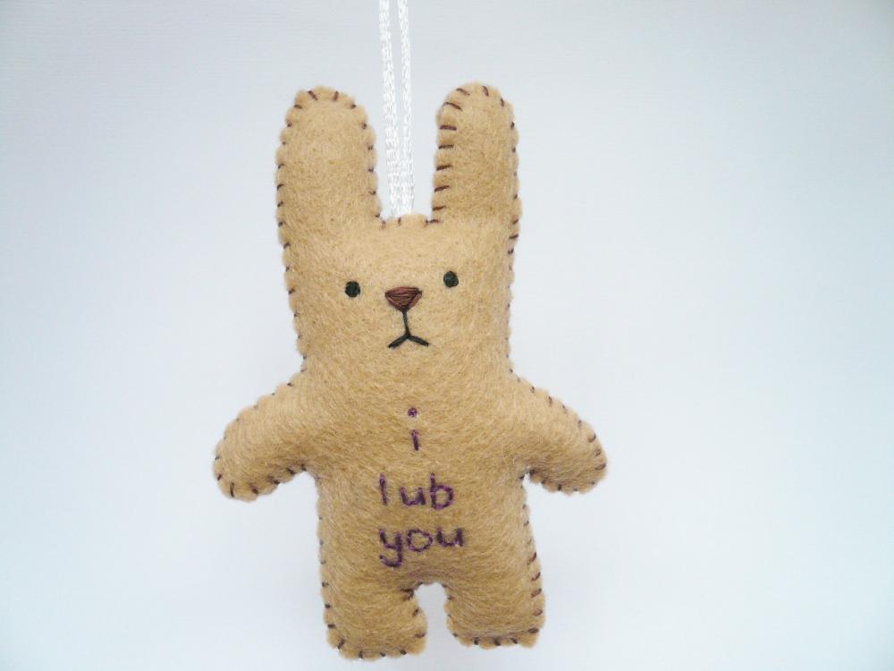 Funny Bunny - i lub you - Funny handmade ornament