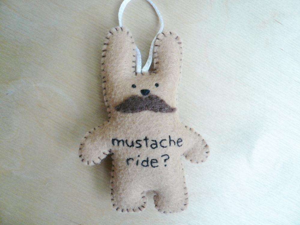 Stuffed animal Bunny - Funny handmade ornament - Mustache Ride Rabbit - Funny bunny