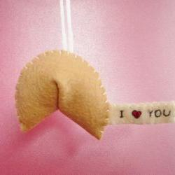 Fortune cookie ornament I heart you