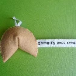 Felt Ornament Funny - Zombie Fortune Cookie