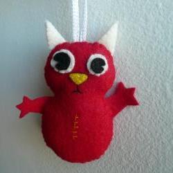 Felt ornaments handmade - Red Horned Monster
