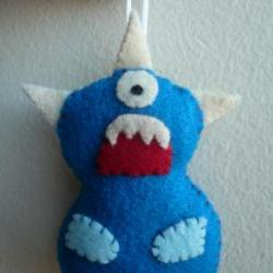 Monster Ornament - Blue Cyclops with three horns