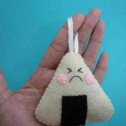 Sushi felt Ornament Unhappy Onigiri