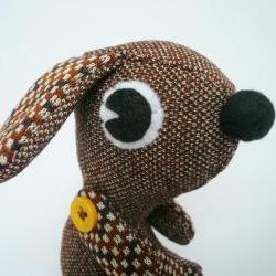 Plush puppy dog - Stuffed Doggy - Brown Vintage style stuffie