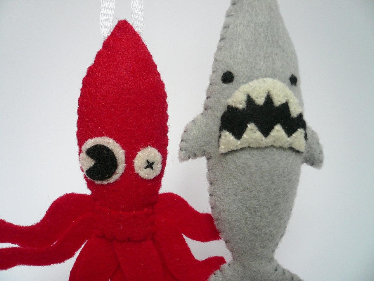 Felt Animals Funny Ornaments Sea Monster Set